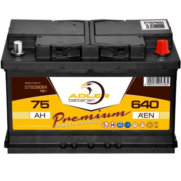 Adler Premium Starterbatterie 12V 75Ah 640A