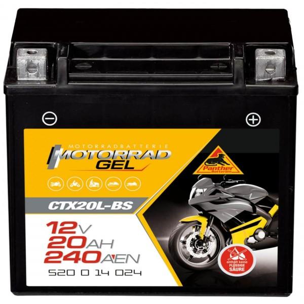 Panther YTX20L-BS Motorradbatterie GEL 12V 18Ah 52014