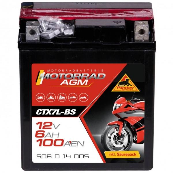 Panther YTX7L-BS Motorradbatterie AGM 12V 6Ah 50614