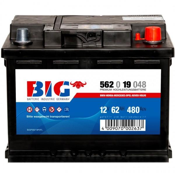 BIG Premium 12V 62Ah 480A Autobatterie DIN 56219