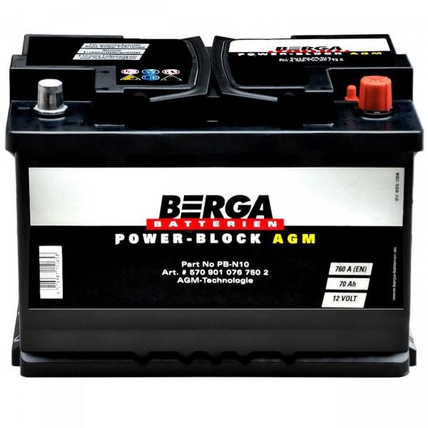 BERGA Autobatterie Start-Stop AGM 12V 70Ah