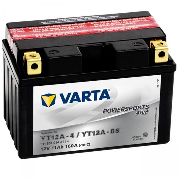 Varta YT12A-BS Powersports AGM 12V 11Ah Motorradbatterie YT12A-4