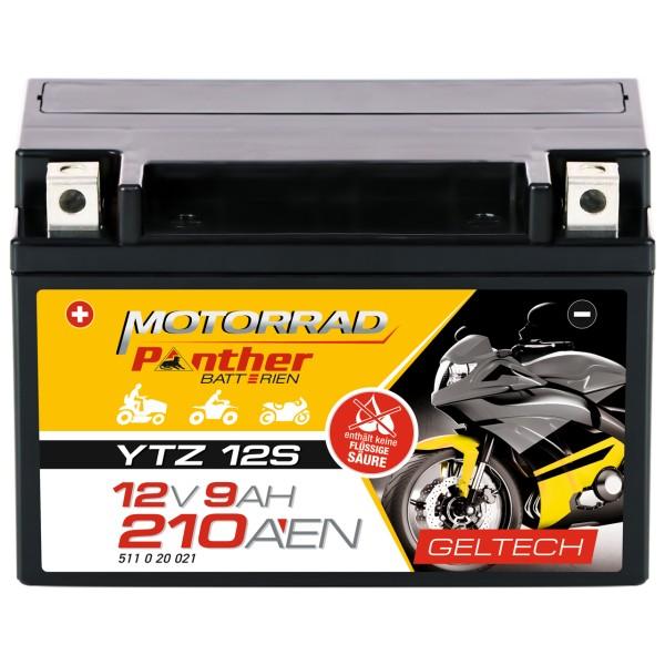Panther YTZ12-S Motorradbatterie GEL 12V 11Ah YTZ12S-BS GTZ12S
