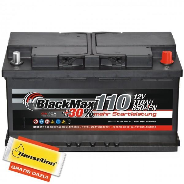 BlackMax +30 Edition Starterbatterie 12V 110Ah 850A mit Polfett