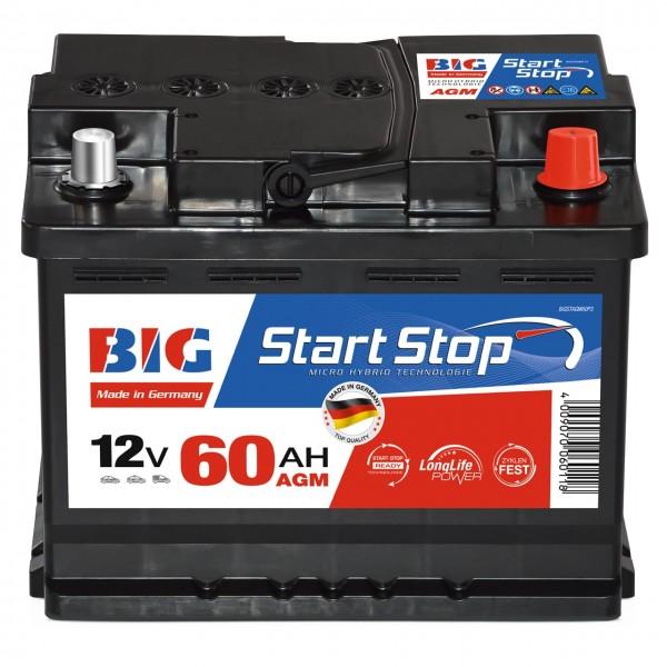 BIG Autobatterie Start Stop 12V 60Ah AGM VRLA