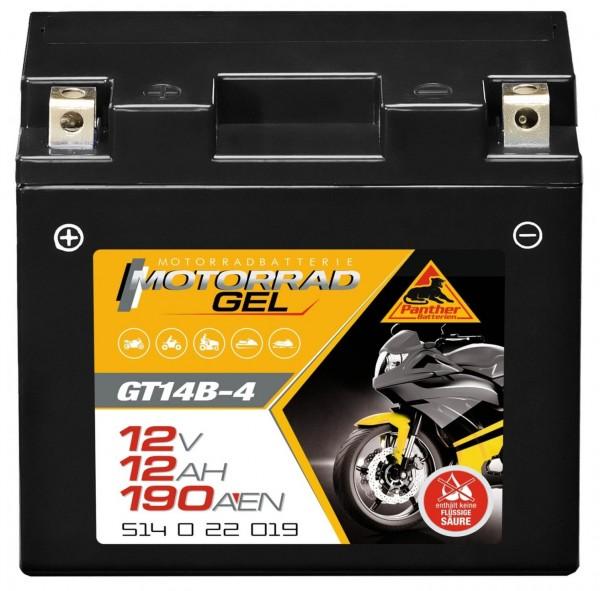 Panther GT14B-4 Motorradbatterie GEL 12V 12Ah 51422
