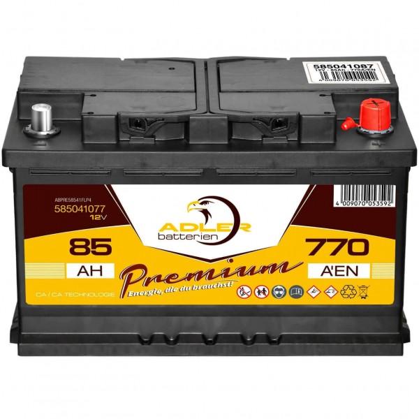 Adler Premium Starterbatterie 12V 85Ah 770A