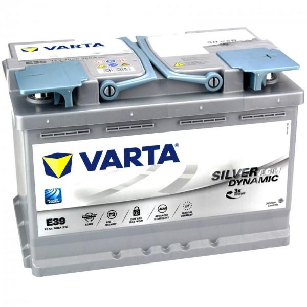Varta E39 Autobatterie Start Stop 12V 70Ah AGM
