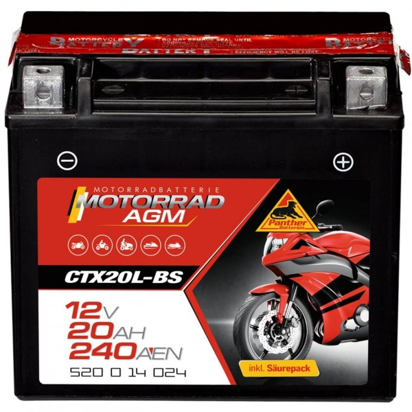 Panther YTX20L-BS Motorrad AGM 12V 18Ah 52014