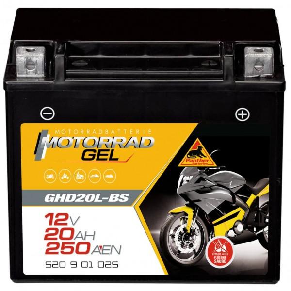 Panther GHD20L-BS Motorradbatterie GEL 12V 20Ah 52001