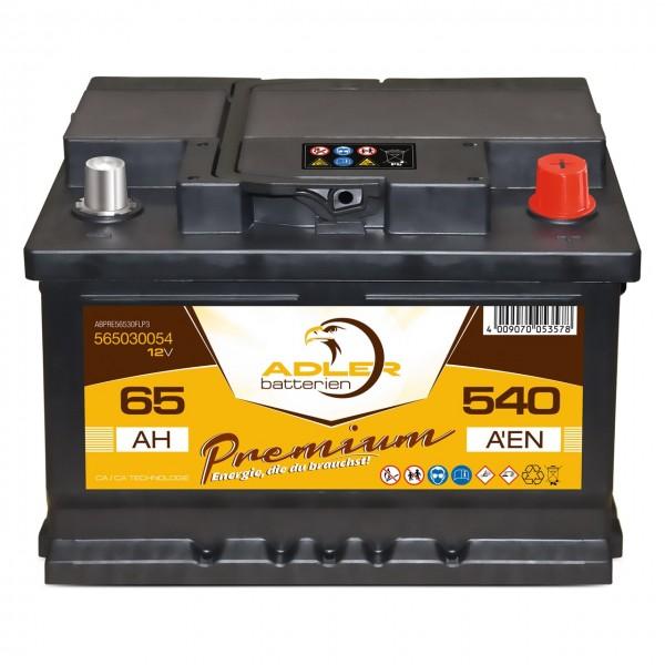 Adler Premium Starterbatterie 12V 65Ah 540A