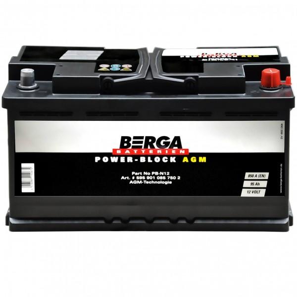 BERGA Start-Stop Autobatterie 12V 95Ah AGM