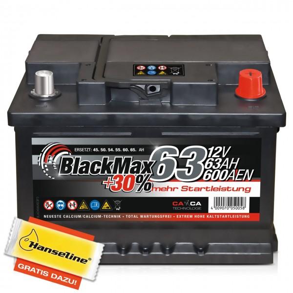 BlackMax +30% Edition 12V 63Ah 600A inkl. POLFETT