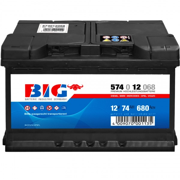 BIG Autobatterie 12V 74Ah DIN 57412