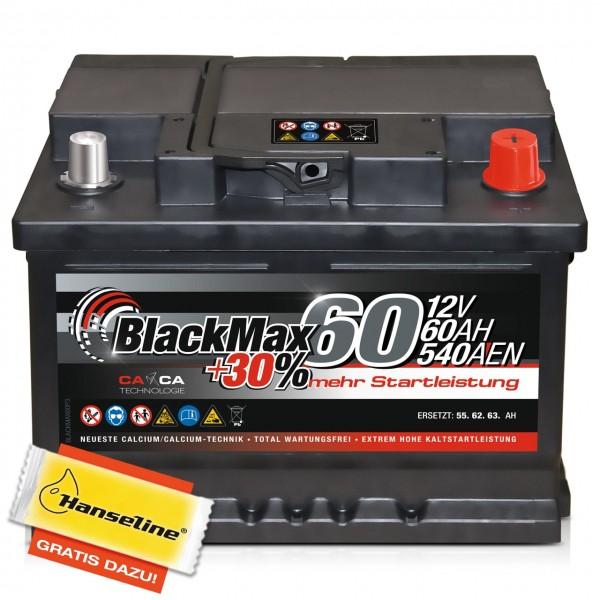 BlackMax +30% Edition 12V 60Ah 540A mit Polfett