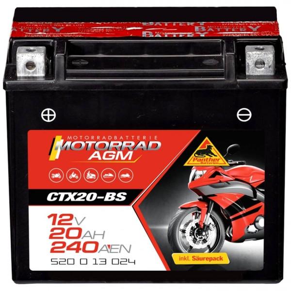 Panther YTX20-BS Motorradbatterie AGM 12V 18Ah 52013