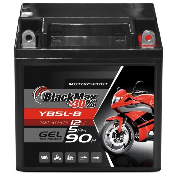 BlackMax YB5L-B Motorradbatterie GEL 12V 5Ah 50512