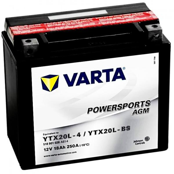 Varta YTX20L-BS Powersports AGM 12V 18Ah YTX20L-4