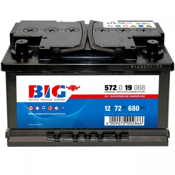 BIG Autobatterie 12V 72Ah Pluspol links