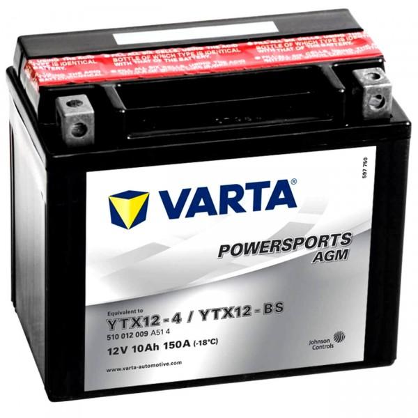 Varta YTX12-BS Powersports AGM 12V 10Ah Motorradbatterie YTX12-4
