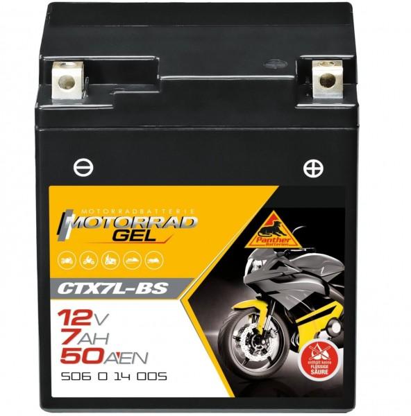Panther YTX7L-BS Motorradbatterie GEL 12V 7Ah CTX7L-BS