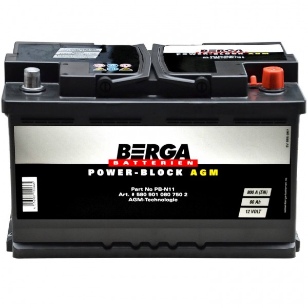 BERGA Autobatterie AGM Start-Stop 12V 80Ah