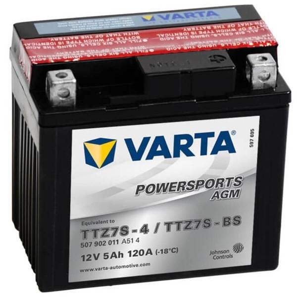 Varta YTZ7S-BS Powersports AGM 12V 5Ah Motorradbatterie YTZ7S-4