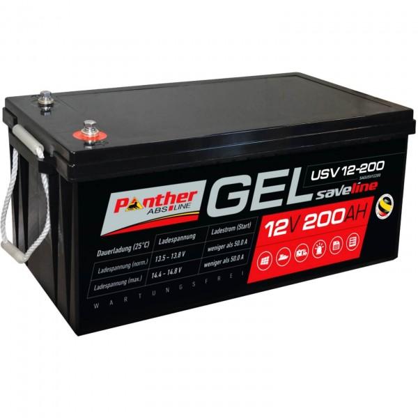 Panther saveline GEL 12V 200Ah USV Versorgerbatterie mit 1800 Zyklen