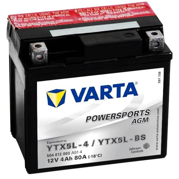 Varta YTX5L-BS Powersports AGM 12V 4Ah YTX5L-4